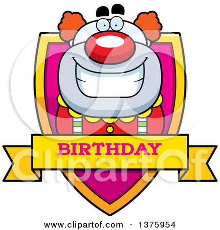Clipart of a Happy Pudgy Birthday Party Clown Shield - Royalty Free Vector Illustration by Cory Thoman