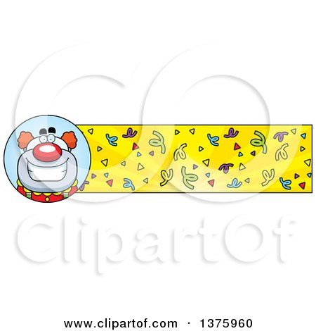 Clipart of a Happy Pudgy Birthday Party Clown Banner - Royalty Free Vector Illustration by Cory Thoman