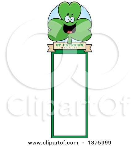 Clipart of a Happy Shamrock Mascot Bookmark - Royalty Free Vector Illustration by Cory Thoman