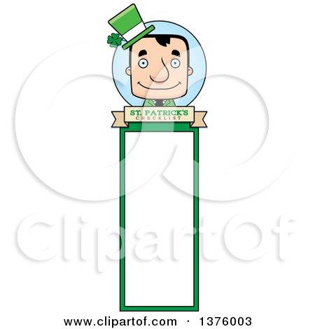 Clipart of a Block Headed White Irish St Patricks Day Man Bookmark - Royalty Free Vector Illustration by Cory Thoman