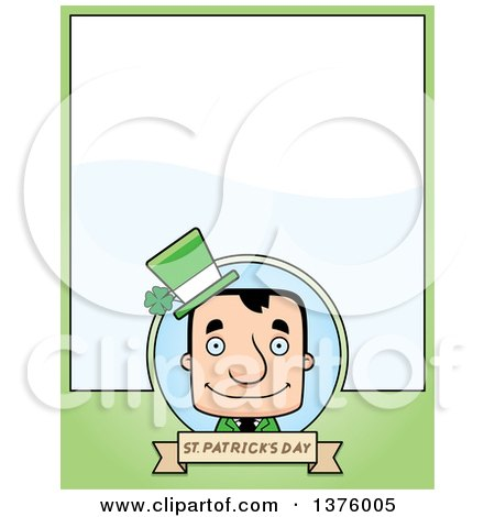 Clipart of a Block Headed White Irish St Patricks Day Man Page Border - Royalty Free Vector Illustration by Cory Thoman