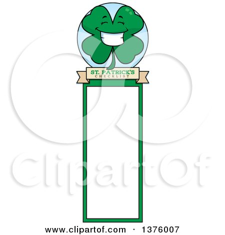 Clipart of a Happy Four Leaf Clover Character Bookmark - Royalty Free Vector Illustration by Cory Thoman