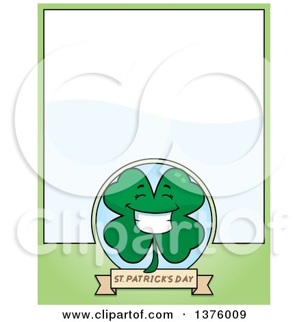 Clipart of a Happy Four Leaf Clover Character Page Border - Royalty Free Vector Illustration by Cory Thoman