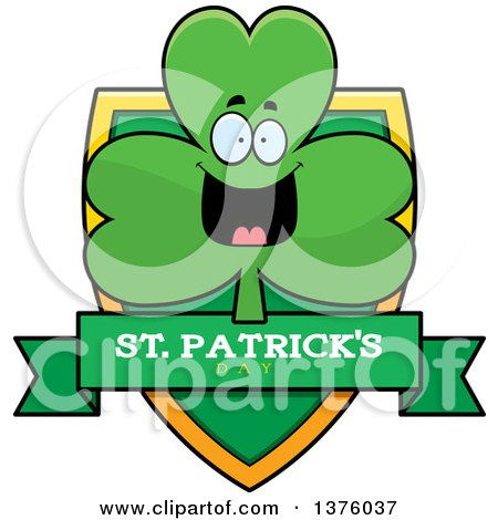 Clipart of a Happy Shamrock Mascot Shield - Royalty Free Vector Illustration by Cory Thoman