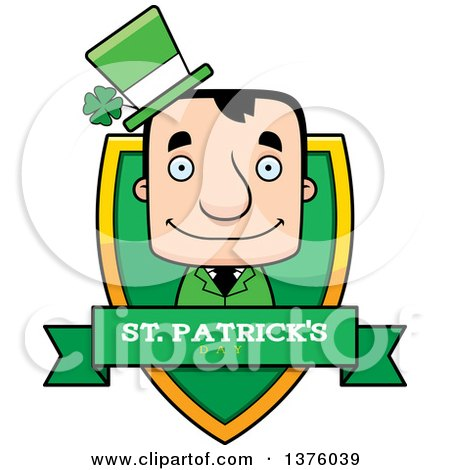Clipart of a Block Headed White Irish St Patricks Day Man Shield - Royalty Free Vector Illustration by Cory Thoman