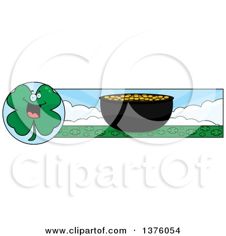 Clipart of a St Patricks Day Four Leaf Clover Character Banner - Royalty Free Vector Illustration by Cory Thoman