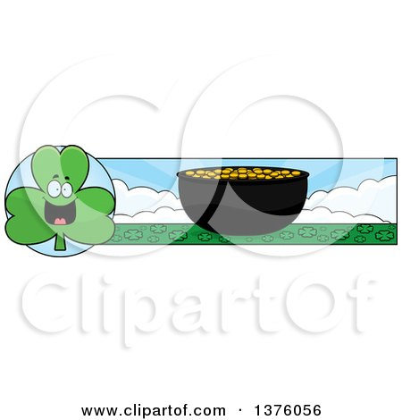 Clipart of a Happy Shamrock Mascot and Pot of Gold Banner - Royalty Free Vector Illustration by Cory Thoman