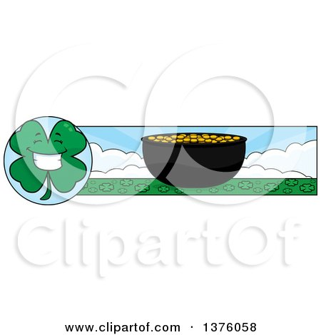 Clipart of a Happy Four Leaf Clover Character and Pot of Gold Banner - Royalty Free Vector Illustration by Cory Thoman