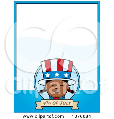 Clipart of a Patriotic Fourth of July Black Girl Page Border - Royalty Free Vector Illustration by Cory Thoman