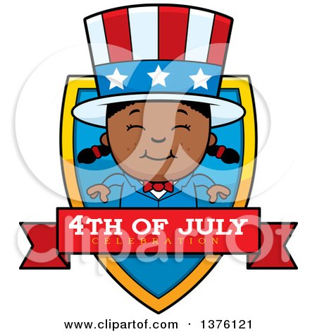 Clipart of a Patriotic Fourth of July Black Girl Shield - Royalty Free Vector Illustration by Cory Thoman
