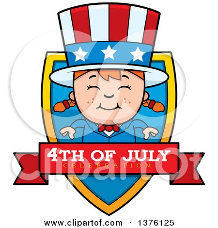 Clipart of a Patriotic Fourth of July White Girl Shield - Royalty Free Vector Illustration by Cory Thoman