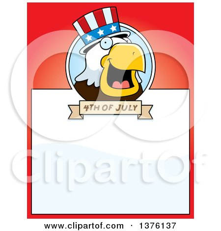 Clipart of a Bald Eagle 4th of July Uncle Sam Page Border - Royalty Free Vector Illustration by Cory Thoman