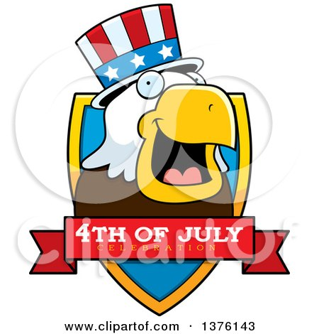 Clipart of a Bald Eagle 4th of July Uncle Sam Shield - Royalty Free Vector Illustration by Cory Thoman