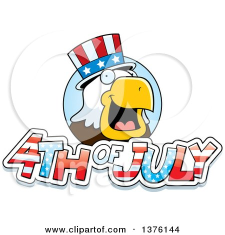 Clipart of a Bald Eagle 4th of July Uncle Sam - Royalty Free Vector Illustration by Cory Thoman