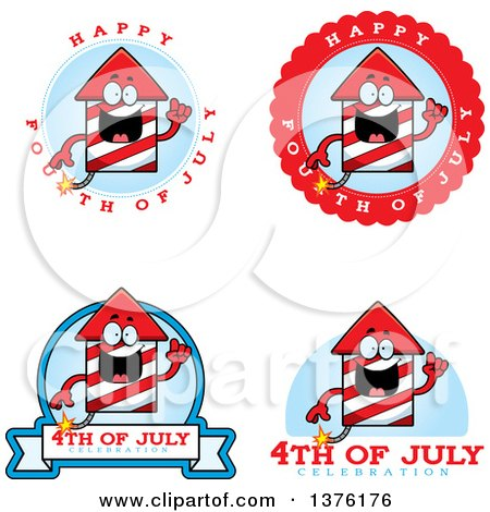 Clipart of Badges of a Rocket Firework Mascot - Royalty Free Vector Illustration by Cory Thoman