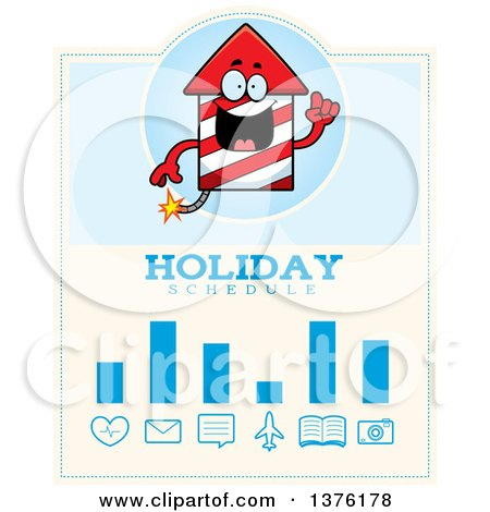 Clipart of a Rocket Firework Mascot Schedule Design - Royalty Free Vector Illustration by Cory Thoman