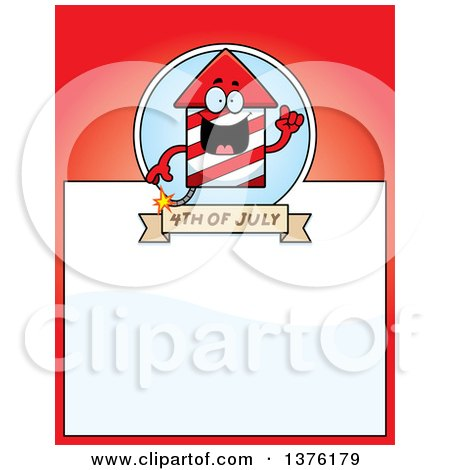 Clipart of a Rocket Firework Mascot Page Border - Royalty Free Vector Illustration by Cory Thoman