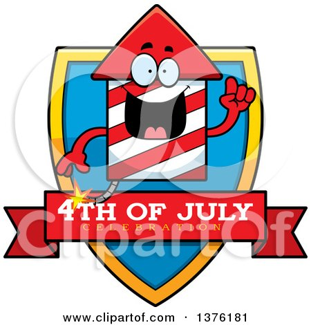 Clipart of a Rocket Firework Mascot Shield - Royalty Free Vector Illustration by Cory Thoman