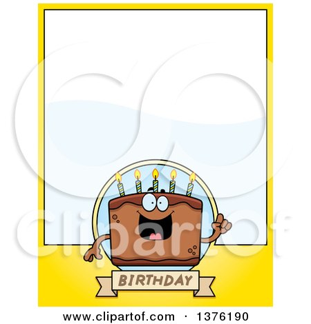 Clipart of a Chocolate Birthday Cake Character Page Border ...