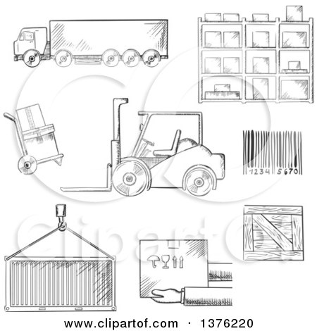 Clipart of a Black and White Sketched Truck, Crate, Barcode, Container, Shelving, Loader and Wooden Box - Royalty Free Vector Illustration by Vector Tradition SM
