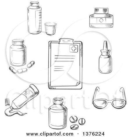 Clipart of a Black and White Sketched Clipboard, Drugs and Pills, Ointment, Dosage, Liquid Medication, Dropper and Glasses - Royalty Free Vector Illustration by Vector Tradition SM