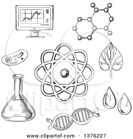 Clipart of Black and White Sketched Biology and Chemistry Items - Royalty Free Vector Illustration by Vector Tradition SM