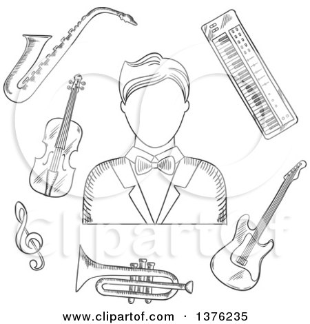 Clipart Of A Sketched Musician Man In Tailcoat Surrounded By Electric Guitar Trumpet Violin Saxophone Treble Clef And Synthesizer Musical Instruments