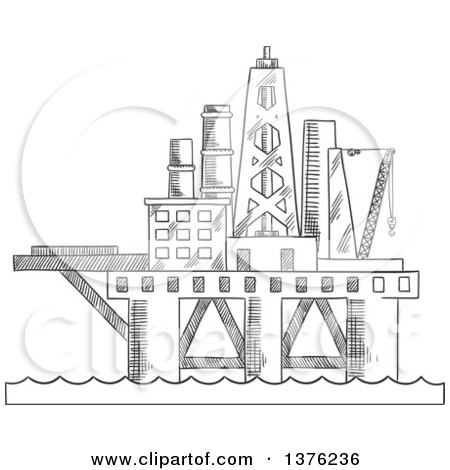 Clipart of a Black and White Sketched Oil Platform - Royalty Free Vector Illustration by Vector Tradition SM