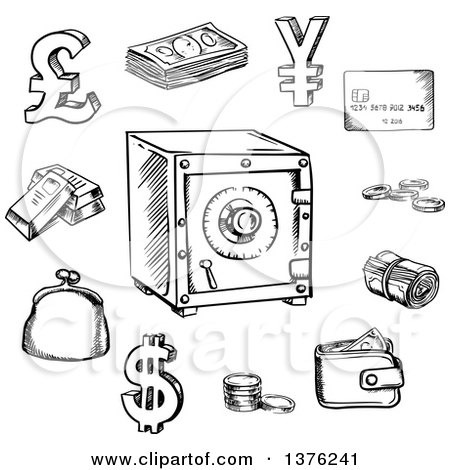 Clipart of a Flaming Yen Currency Symbol and Asia Text on ...