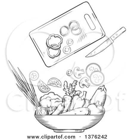 Clipart of a Black and White Sketched Cutting Board, Knife and Salad Veggies - Royalty Free Vector Illustration by Vector Tradition SM