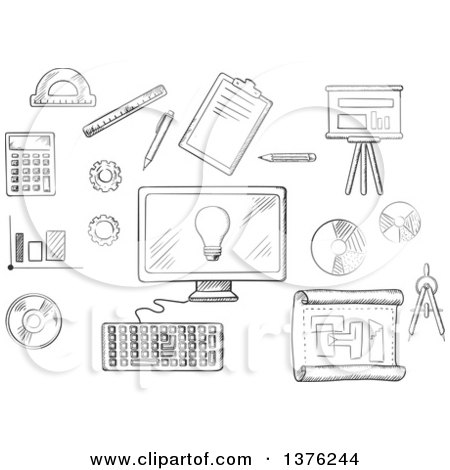 Clipart of a Black and White Sketched Desktop Computer Surrounded by Icons of Board, Blueprint, Graphs, Calculator and a Light Bulb on the Screen - Royalty Free Vector Illustration by Vector Tradition SM