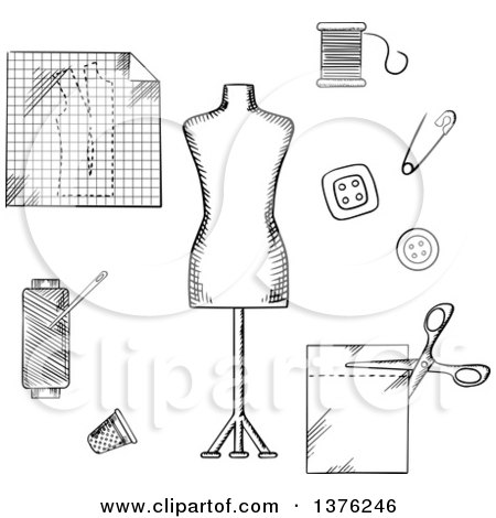 Clipart Of A Black And White Sketched Mannequin Scissors