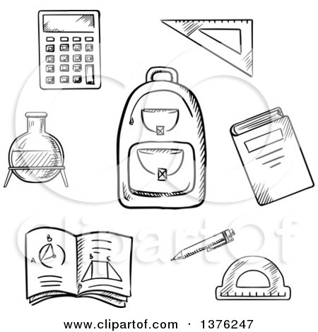 Clipart of a Black and White Sketched School Backpack, Book, Calculator, Notebook, Exercise Book, Pencil, Chemical Laboratory Flask, Triangle Ruler and Protractor - Royalty Free Vector Illustration by Vector Tradition SM