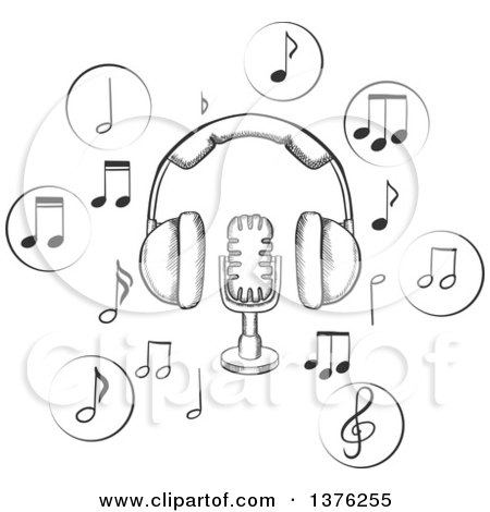 radio clipart black and white. black and white sketched microphone earphones surrounded by circular icons with music notes vector tradition sm radio clipart