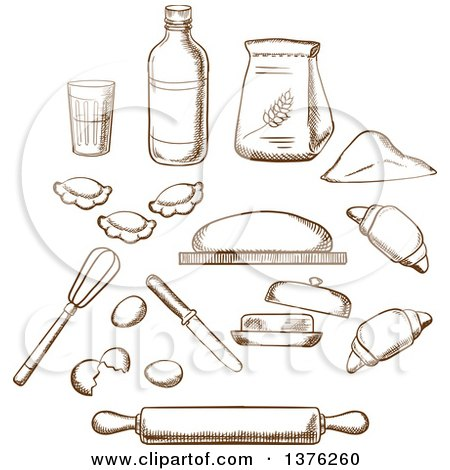 Clipart of Brown Sketched Dough, Milk, Butter, Eggs, Flour and Kitchen Utensils - Royalty Free Vector Illustration by Vector Tradition SM