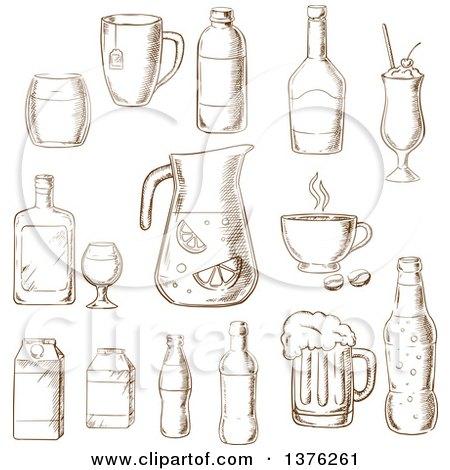 Brown Sketched Fruit Juice, Beer, Soda, Beer, Alcohol, Champagne, Milkshake, Liquor, Milk, Coffee, Liqueur Posters, Art Prints