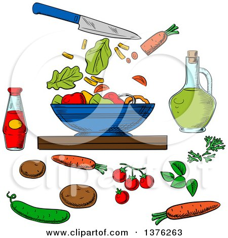 Clipart of a Sketched Knife and Salad Ingredients Around a Bowl - Royalty Free Vector Illustration by Vector Tradition SM