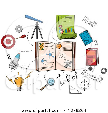 Clipart of Sketched Science and Astronomy Icons Around a Book - Royalty Free Vector Illustration by Vector Tradition SM