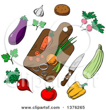 Clipart of a Cutting Board and Vegetables - Royalty Free Vector Illustration by Vector Tradition SM