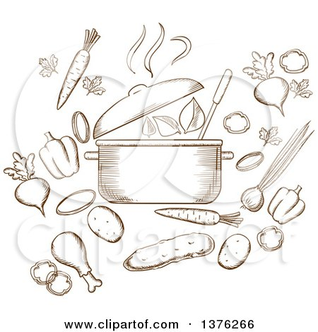 Clipart of a Brown Sketched Soup Pot, Carrot, Beet, Pepper, Cucumber, Onion, Chicken Leg, Potato, Steam and Green Leaf - Royalty Free Vector Illustration by Vector Tradition SM