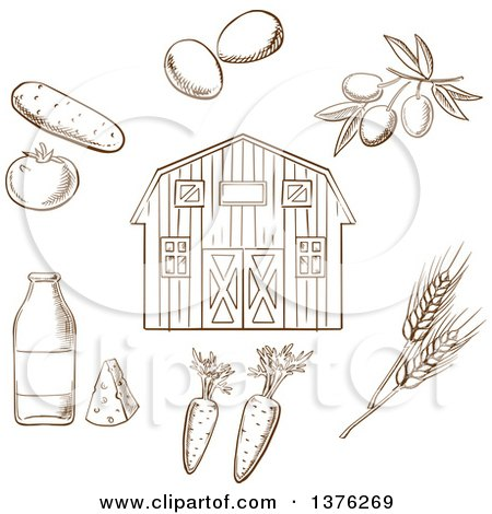 Clipart of a Brown Sketched Barn and Foods - Royalty Free Vector Illustration by Vector Tradition SM