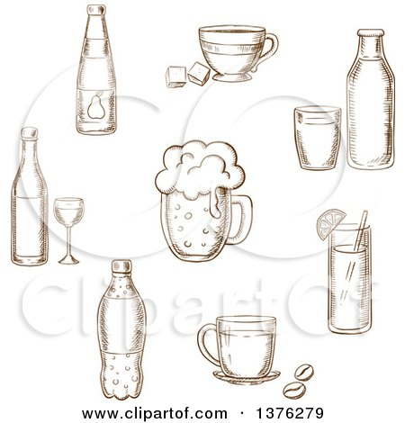Brown Sketched Wine Bottle and Glass, Beer, Coffee, Tea, Milk Bottle and Glass, Orange Juice and Soft Drink Soda Posters, Art Prints