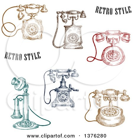 Clipart of a Sketched Colorful Vintage Telephones - Royalty Free Vector Illustration by Vector Tradition SM