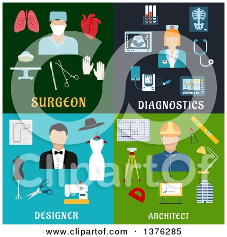 Clipart of Flat Surgeon, Diagnostics, Designer and Architect Designs - Royalty Free Vector Illustration by Vector Tradition SM