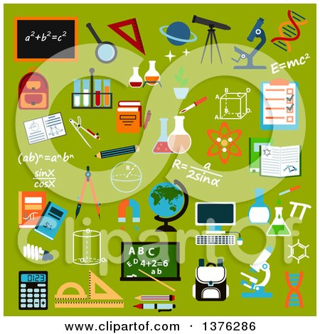 Clipart of Flat Design School Supplies and Education Icons with Pencils, Books, Rulers, Notebooks, Calculator, Blackboards, Globe, Computer, Backpacks, Microscopes, Stationery, Atom, Dna, Magnifier, Laboratory Glass, Telescope, Formulas and Compasses on G by Vector Tradition SM