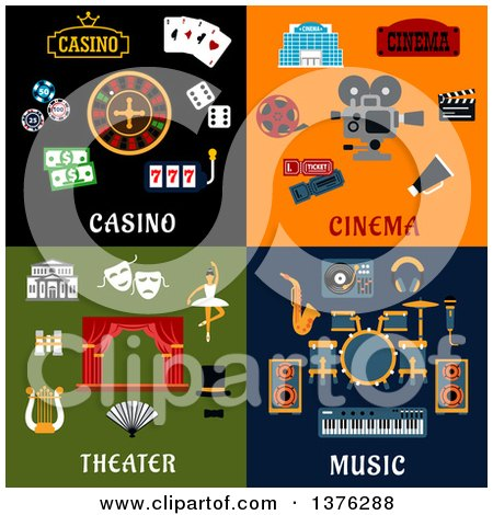 Clipart of Flat Casino, Cinema, Theater and Music Designs - Royalty Free Vector Illustration by Vector Tradition SM