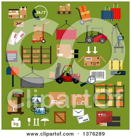 Clipart of Flat Design Logistics Icons of Cardboard Packages, Containers, Cargo Crane, Forklift Trucks and Hand Trucks with Boxes and Suitcases, Warehouse Shelf, 24/7 Service, Scale, Parcels, Letters, Postage Stamps, Bar Code and Mail Box - Royalty Free by Vector Tradition SM