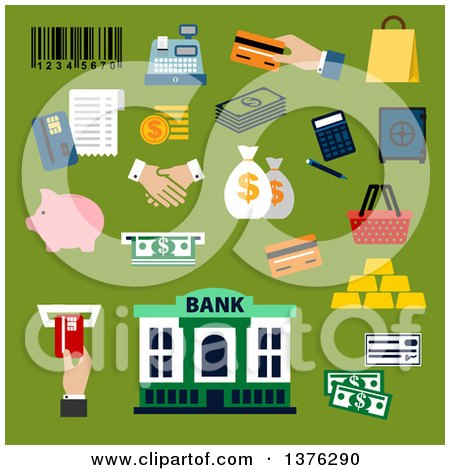 Clipart of a Flat Design Dollar Bills and Coins, Credit Card, Money Bags and Handshake, Calculator, Shopping Basket, Paper Bag, Piggy Bank, Safe, Bank Building, Gold Bars, Bar Code, Cash Register and Atm Slot on Green - Royalty Free Vector Illustration by Vector Tradition SM