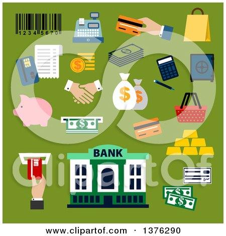 Flat Design Dollar Bills and Coins, Credit Card, Money Bags and Handshake, Calculator, Shopping Basket, Paper Bag, Piggy Bank, Safe, Bank Building, Gold Bars, Bar Code, Cash Register and Atm Slot on Green Posters, Art Prints