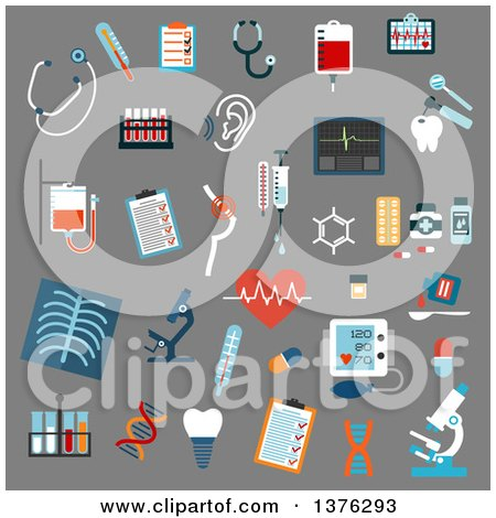 Clipart of Flat Design Medical Diagnostics, Testing, Equipment and Treatment Flat Icons with Stethoscopes, Microscopes, Thermometers, Medication Pills, Syringe, Blood Test Tubes and Bags, X-ray, Ecg, Blood Pressure, Hearing and Breast Testing, Dna - Royal by Vector Tradition SM